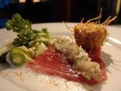 Thunfisch, Spargel, Kohlrabi und Sushi-Schaum